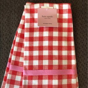 Kate Spade Cotton Red Gingham Dish towels 2 sets